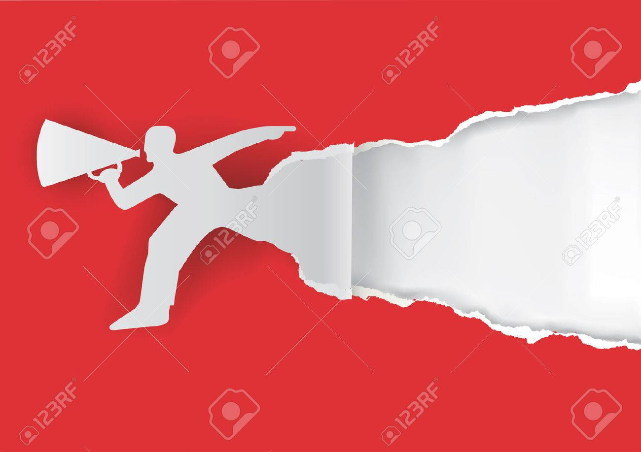 Man advertises or sells shouts in a megaphone with place for your text or image. Template for a original advertisement. Illustration. - 35102478