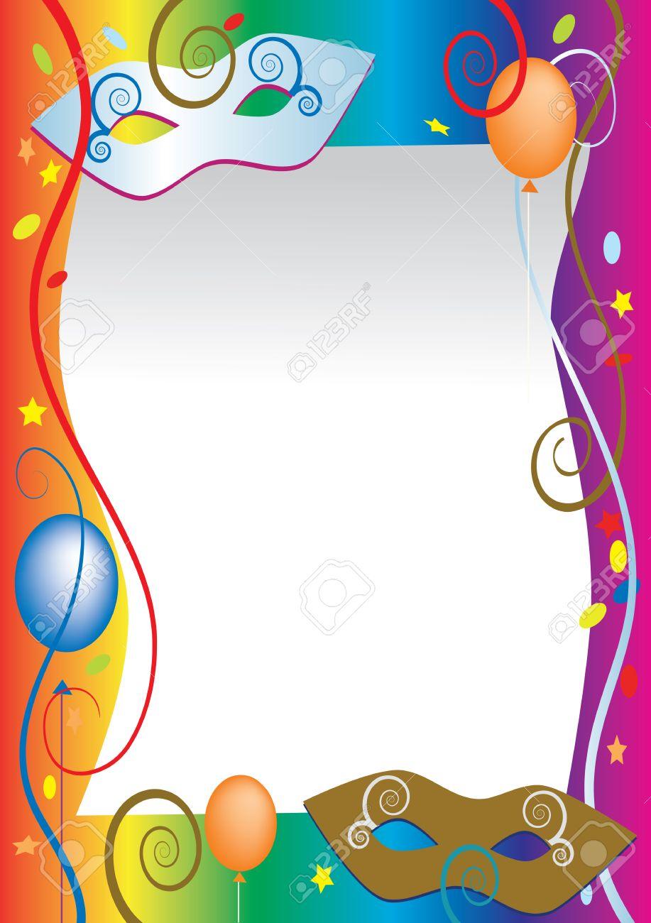 Antecedentes Para El Carnaval Y La Invitación Del Partido Tarjetas Con Globos De Colores Y Confeti