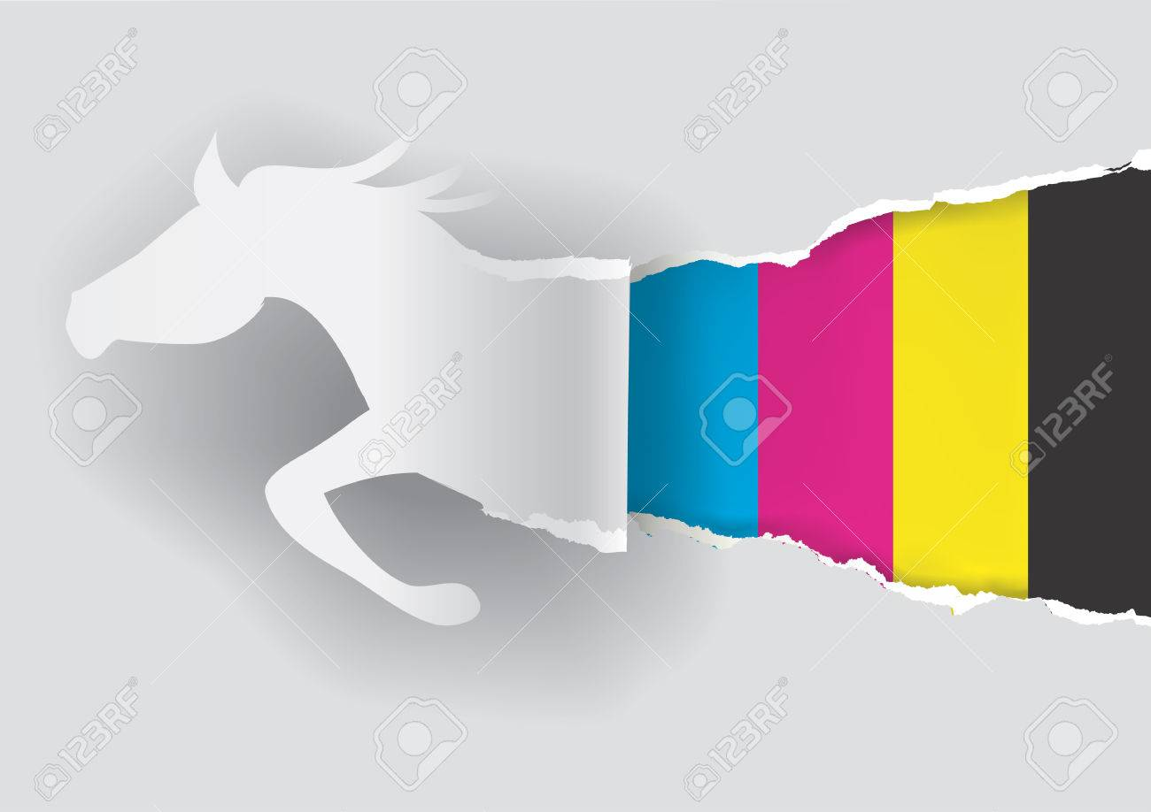 paper horse ripping paper with print colors with place for your text or image concept