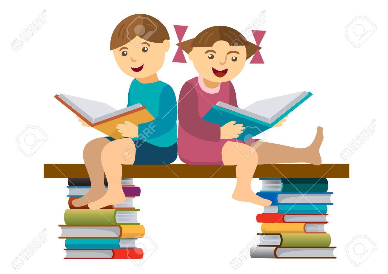 Petite Fille Et Garcon Assis Sur Un Banc Et Lire Un Livre Vector Illustration