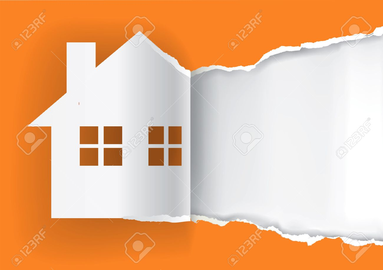 House for sale advertisement template. Illustration of ripped paper paper house symbol with place for your text or image. Vector available. - 44517783