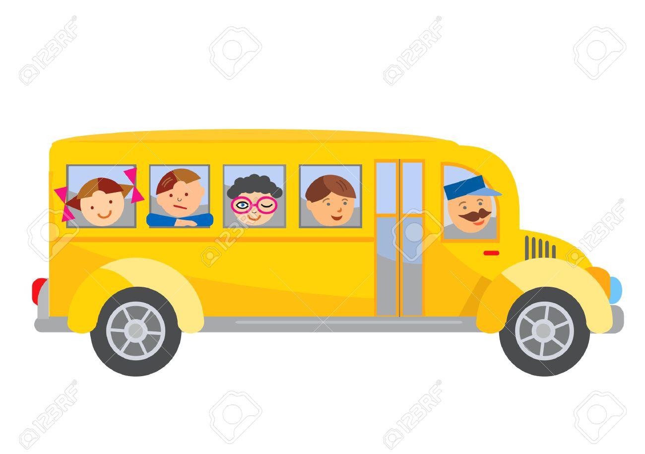 school bus cartoon cartoon of yellow school bus with children