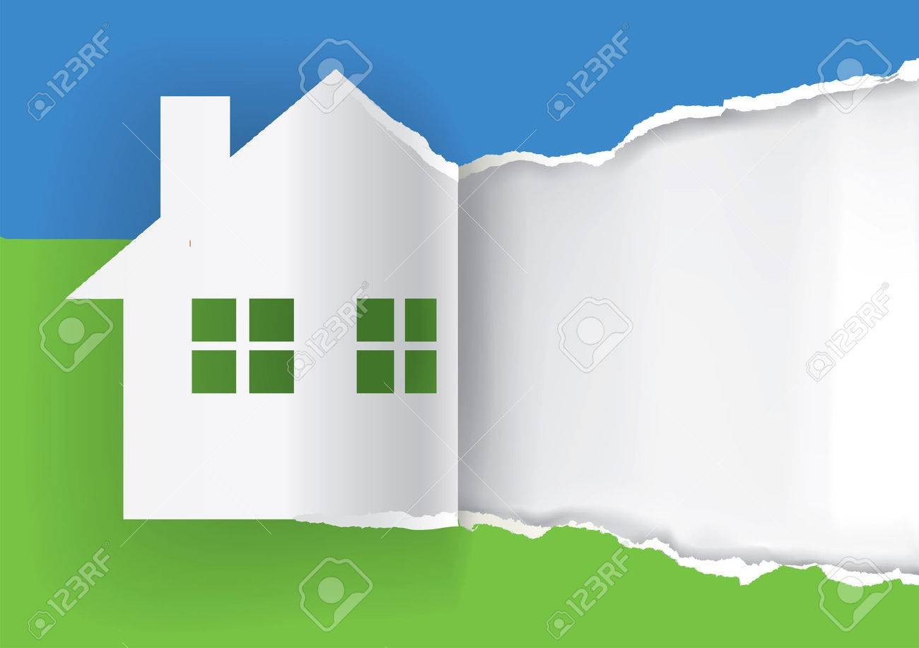 House for sale advertisement template Illustration of ripped paper paper house symbol with place for your text or image. Vector available. - 46719789