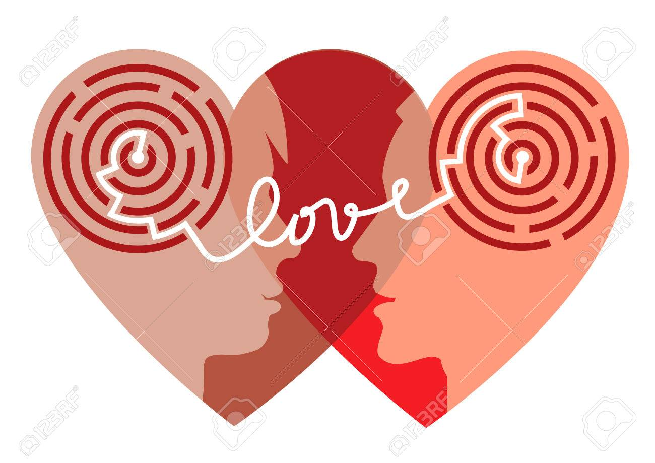 Maze of love female and male head silhouettes with maze and female and male head silhouettes with maze and word love symbolizing psychological biocorpaavc Images