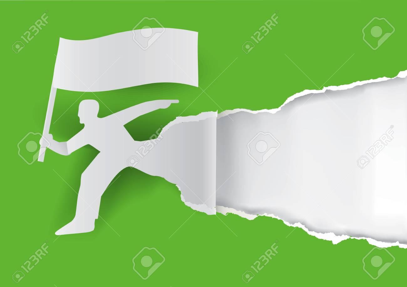 Schablone Für Frühlings Werbung. Papier Mann Silhouette Mit Flagge ...