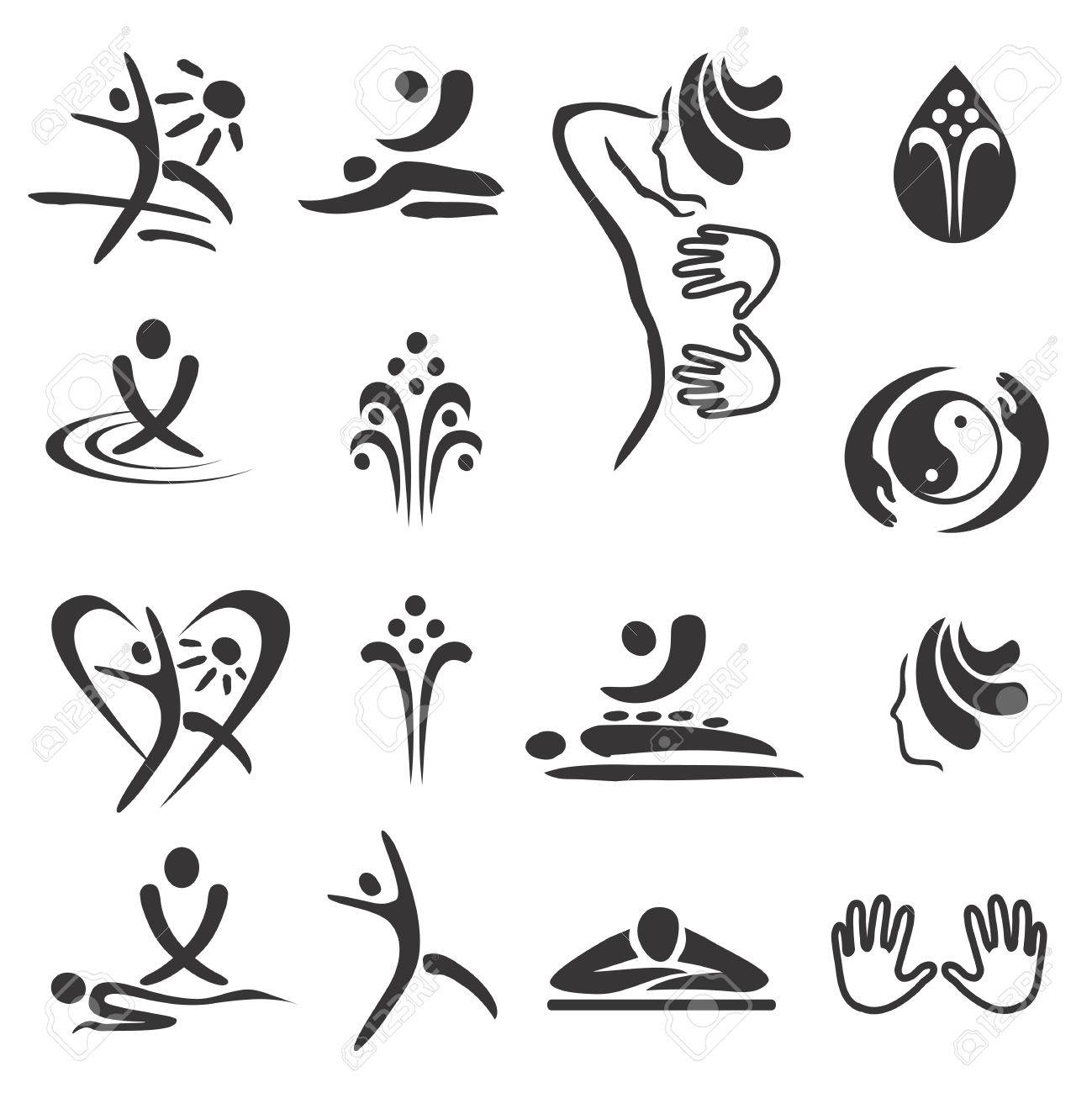 Spa massage icons. Set of black icons of spa and massage. Vector available. - 58733269