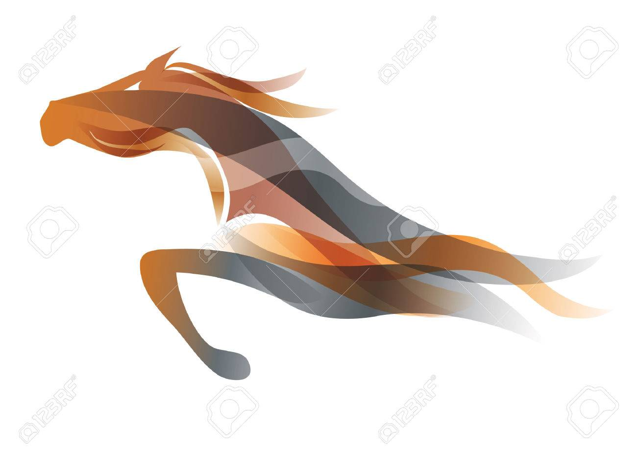 Running horse. Colorful stylized illustration of running horse. Vector available. - 58744947