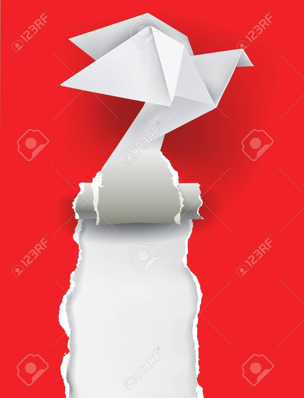 折り紙のハトが紙をリッピングしますあなたのイメージのための場所では