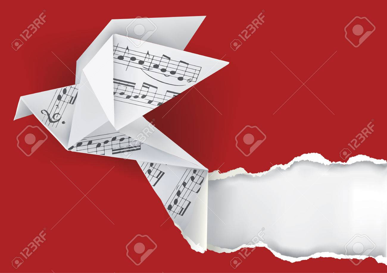 Origami Paper Music Notes Royalty Free Cliparts, Vectors, And ... | 919x1300