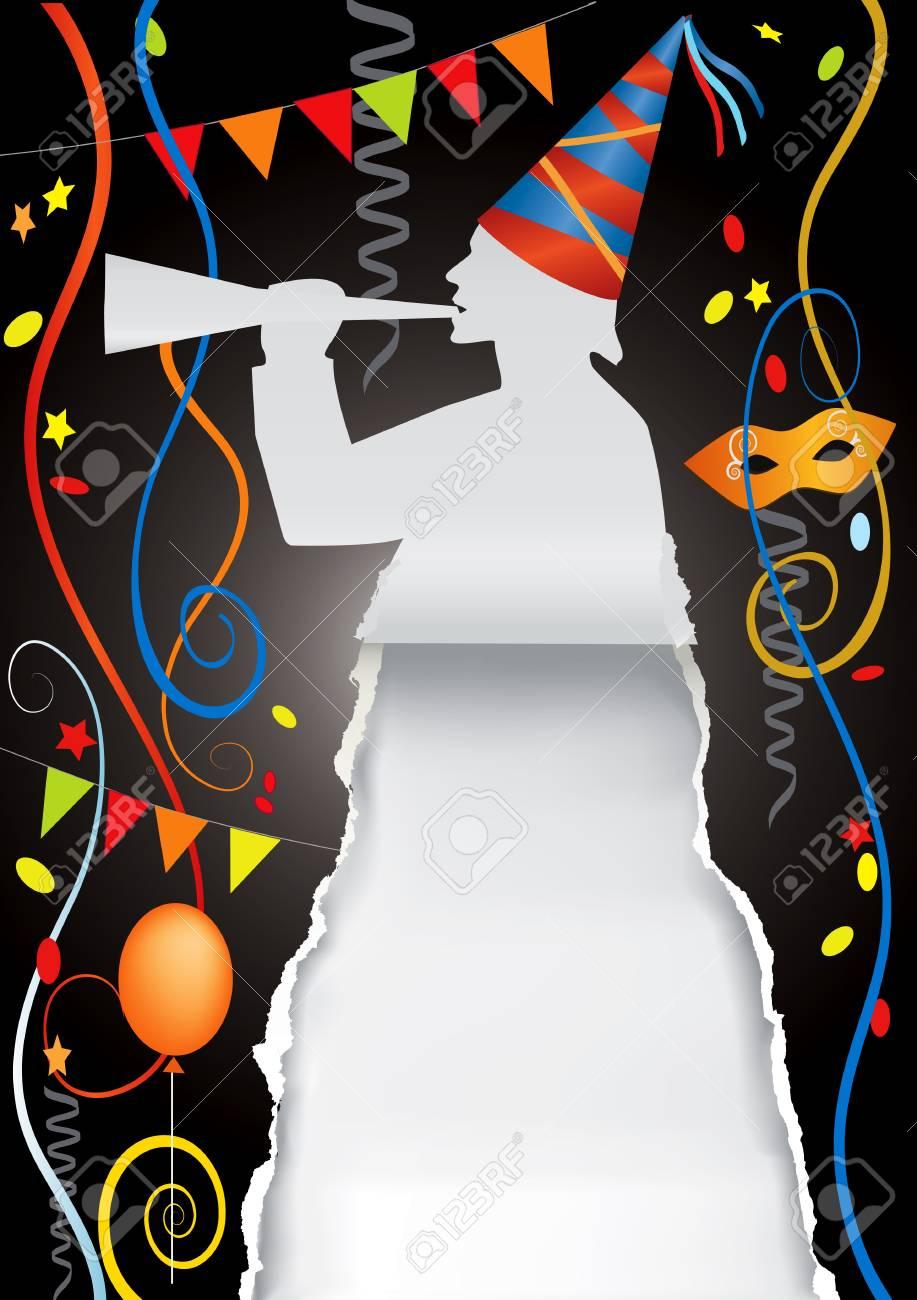 Plantilla Original Para Tarjetas De Invitación De Carnaval Y Fiesta Con Globos De Colores Y Confeti