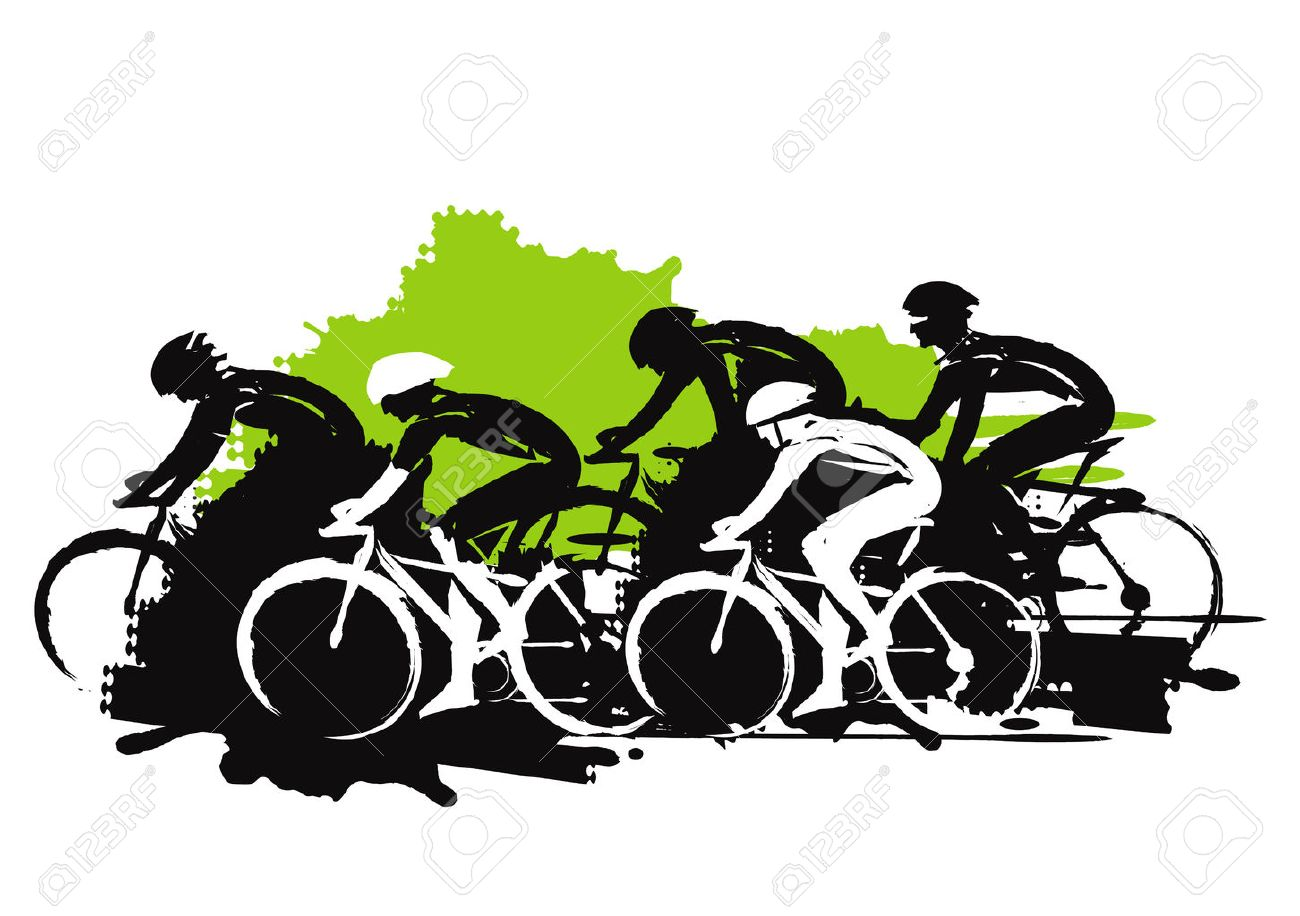 Road cycling racers. Expressive stylized illustration of cyclist imitating drawing ink and brush. Vector available. - 68346354