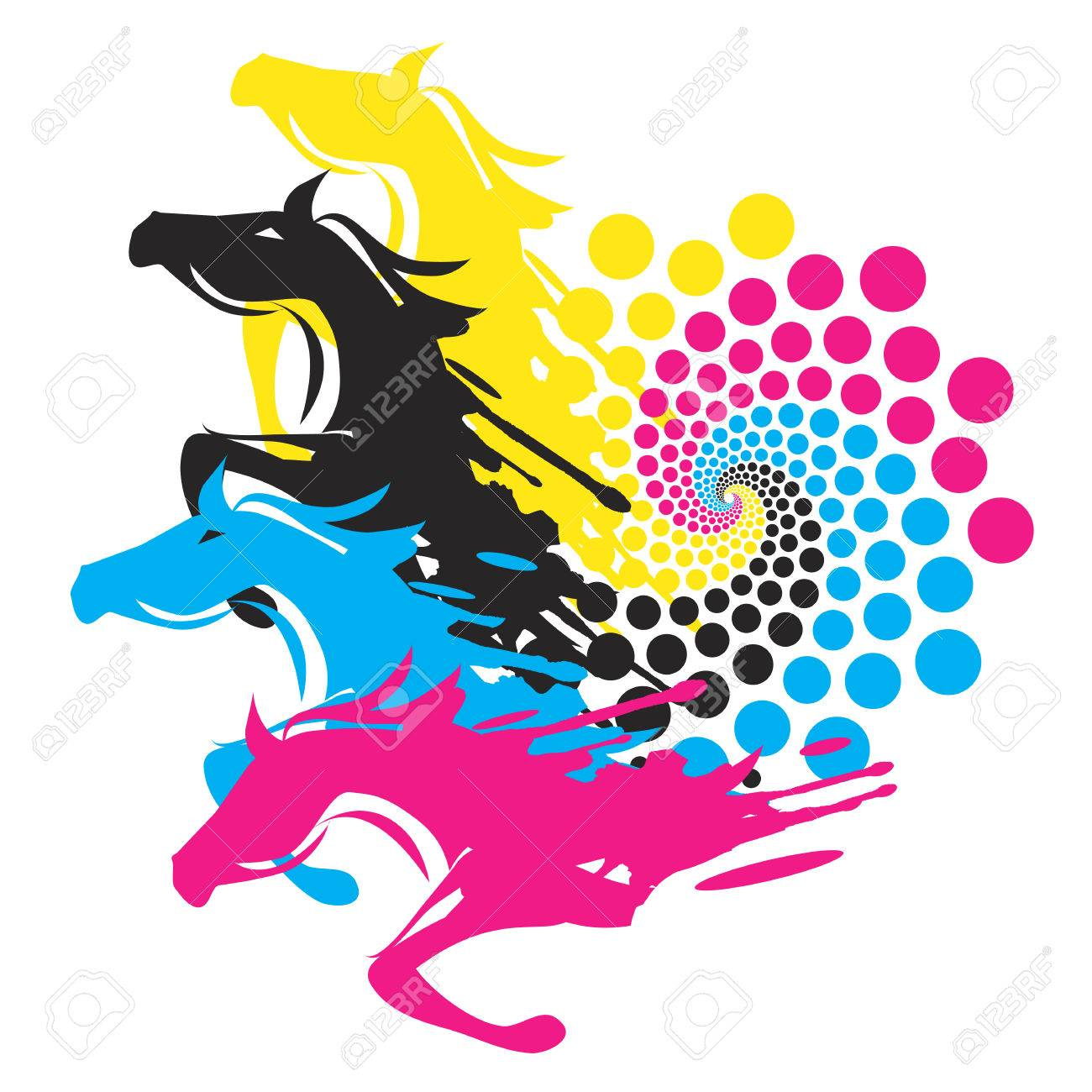 horses with print color circle four running horses with the circle of the print colors