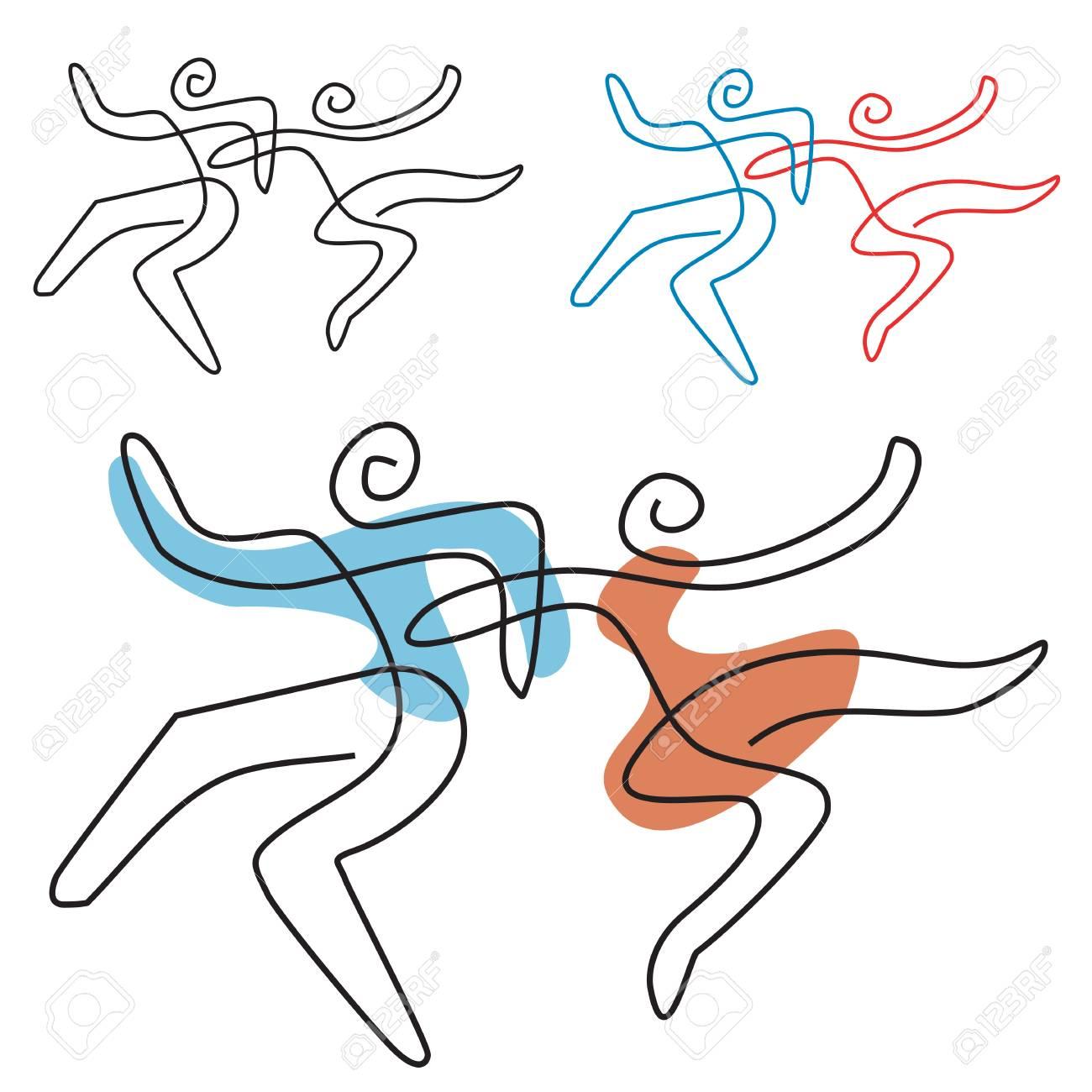 Danse Couple Dessin Au Trait Un Couple De Danse Capricieux Dessin Au Trait Stylisé Vecteur Disponible