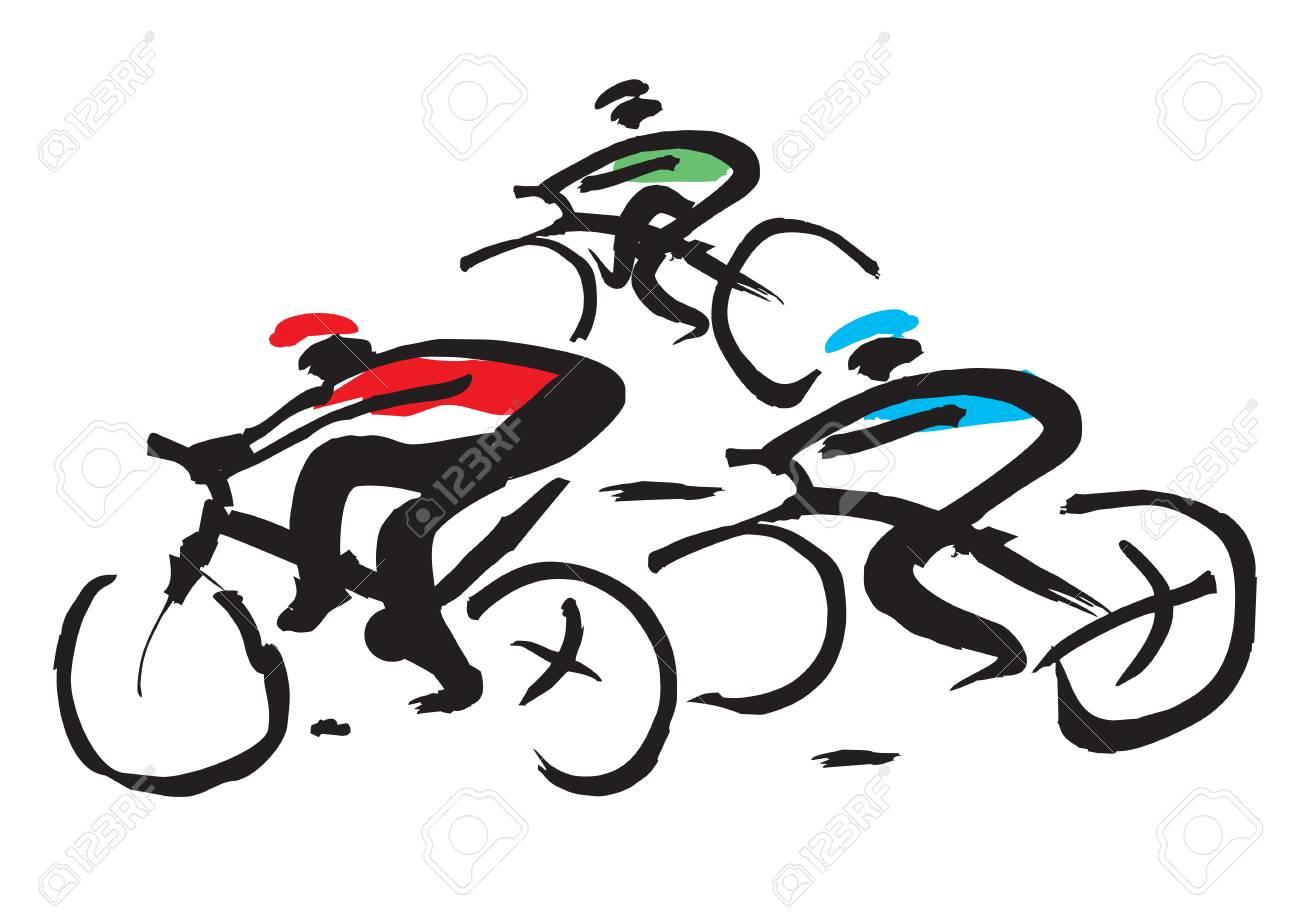 Dessin D Encre De Course De Vélo Illustration Expressive Dessinés à La Main De La Course Cycliste Vecteur Disponible