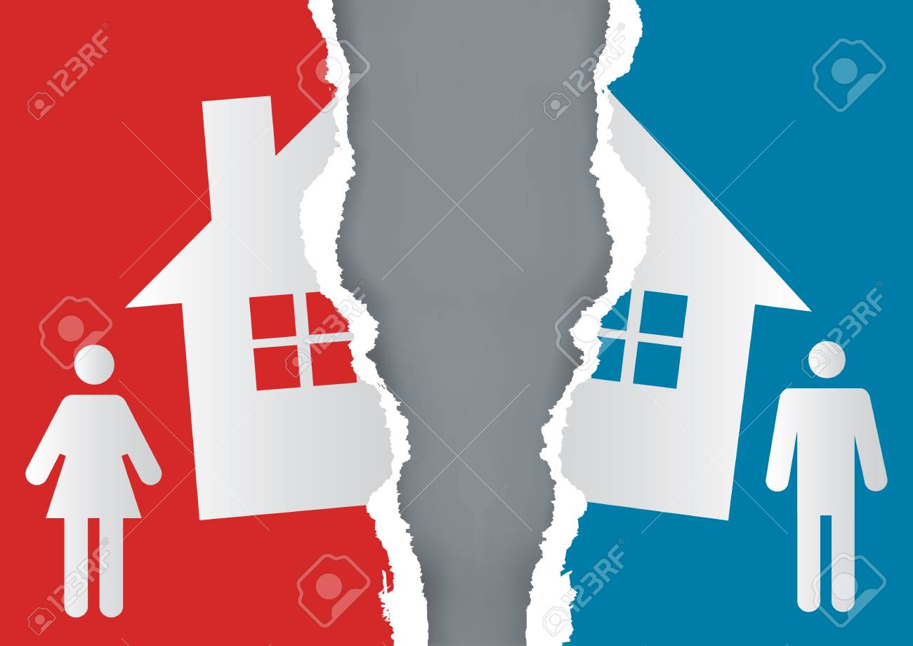 Division of property at divorce. A divorced couple and ripped paper with the symbol of the house. Vector available. - 91320463