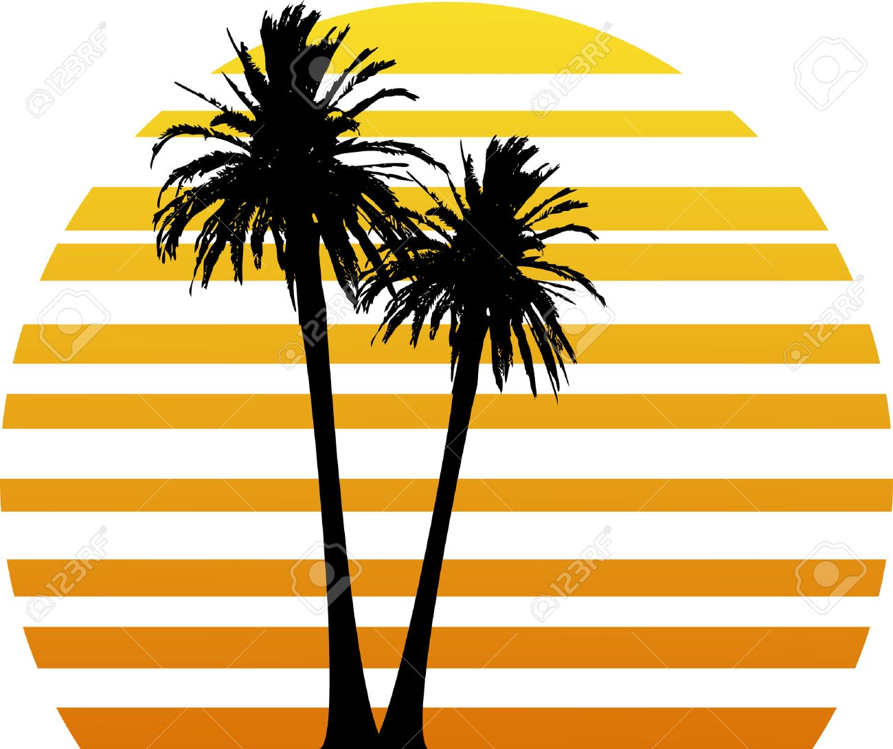 vector illustration with two palm trees and stylized sunset royalty rh 123rf com sunset clip art images sunset clip art in black & white