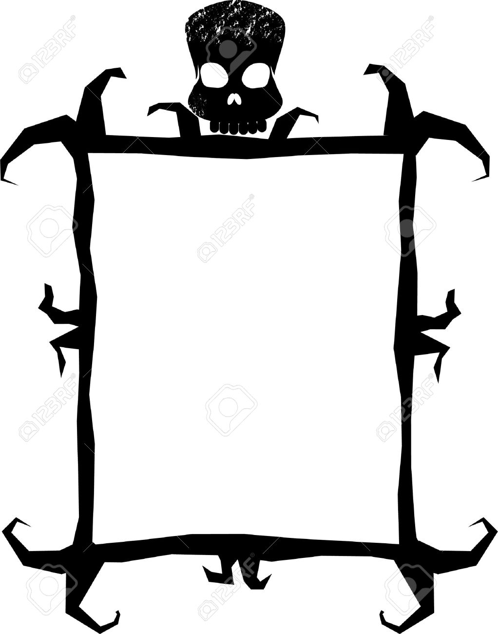 A Spooky Frame With A Skull Royalty Free Cliparts, Vectors, And ...