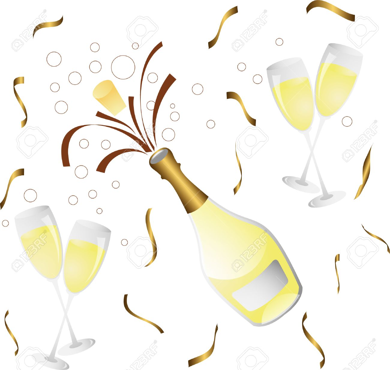 Champagne Bottle And Glass With Confetti Royalty Free Cliparts