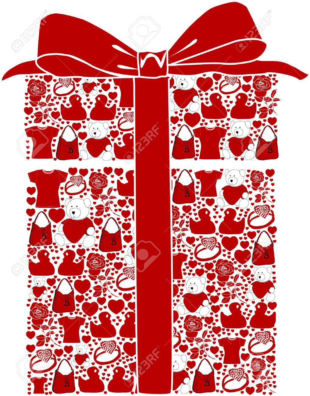 A Stylized Gift Box With Various Valentine Gift Ideas Royalty Free ...