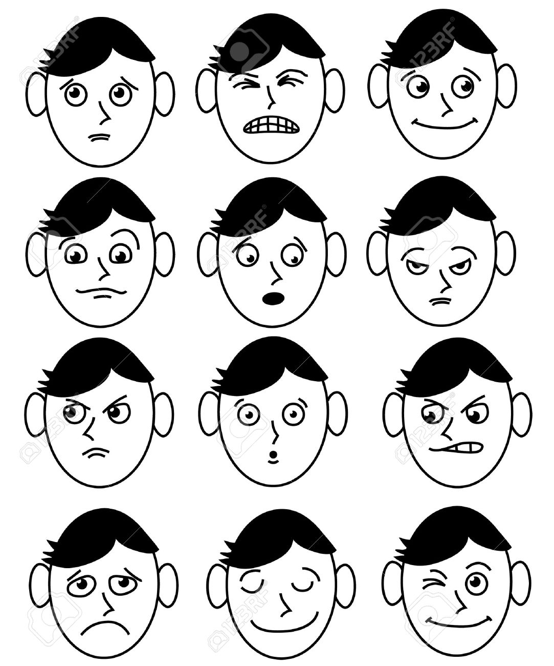 a man's face with different expressions Stock Vector - 5285170