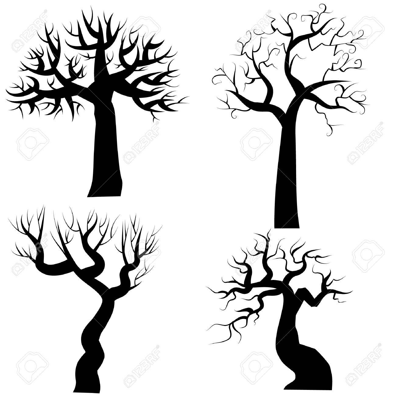 silhouettes of spooky halloween trees royalty free cliparts vectors