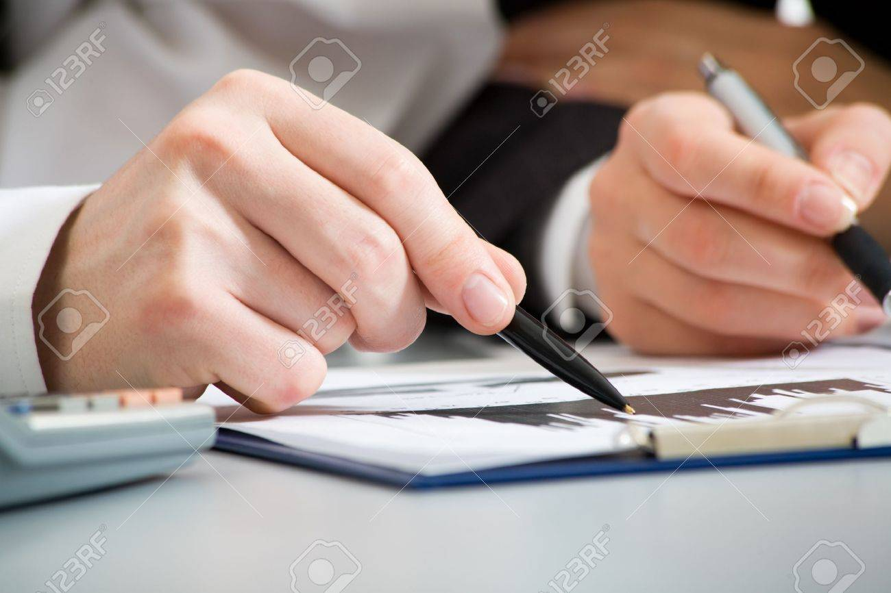 Image of business people hands working with documents at meeting Stock Photo - 10011552