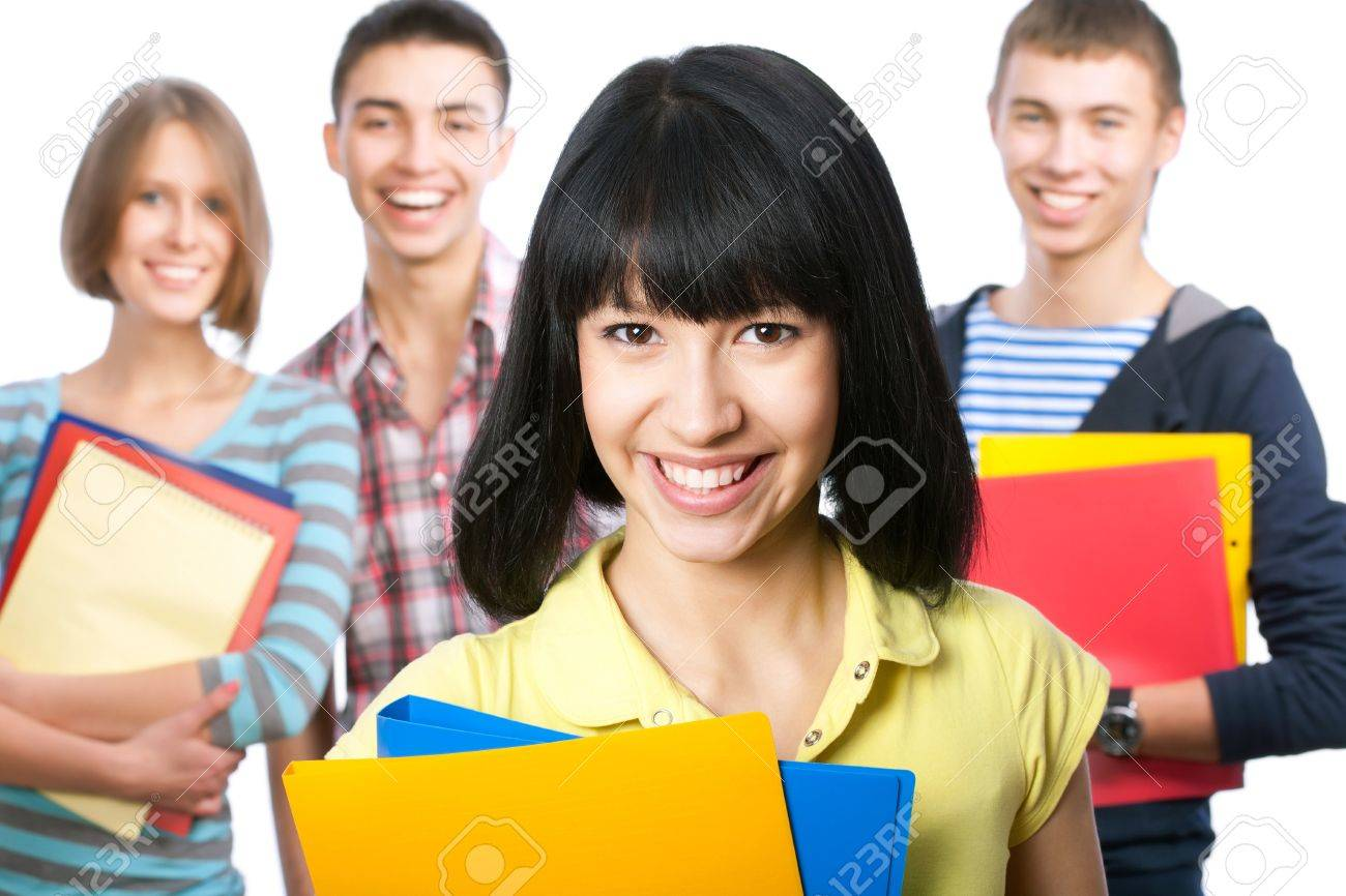 Group of happy students look at the camera Stock Photo - 13622901