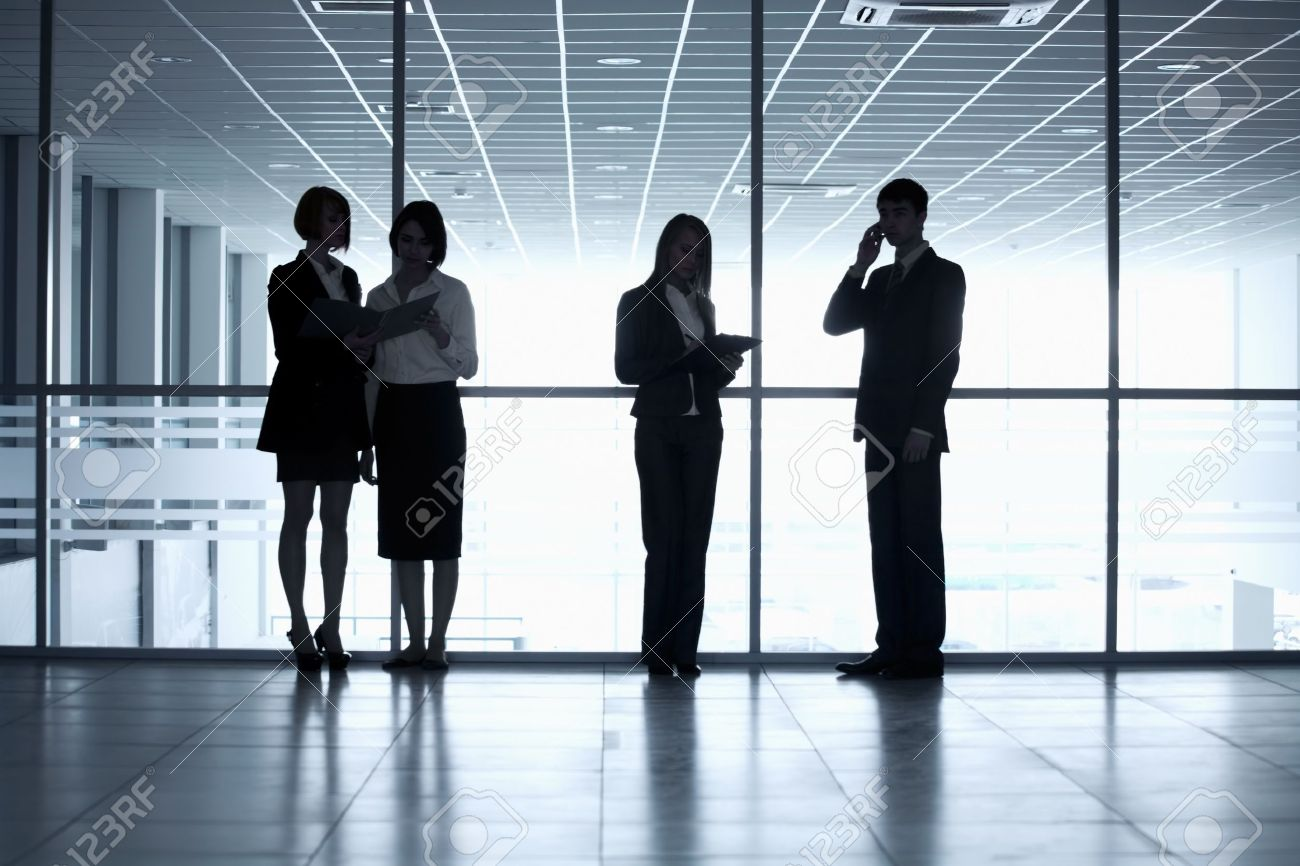business people silhouettes in a modern office stock photo 16120673 business office modern