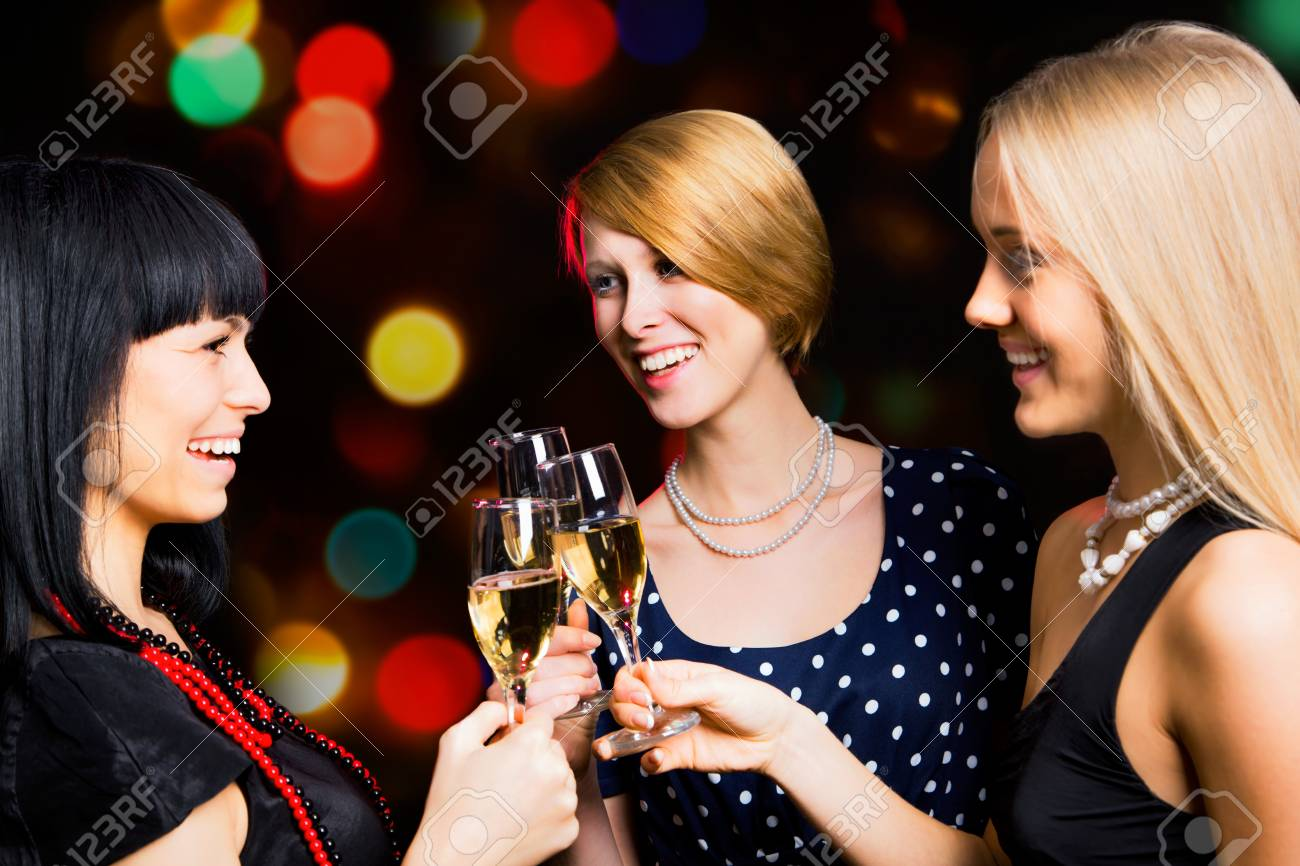 Portrait of several friends celebrating New Year Stock Photo - 16099211