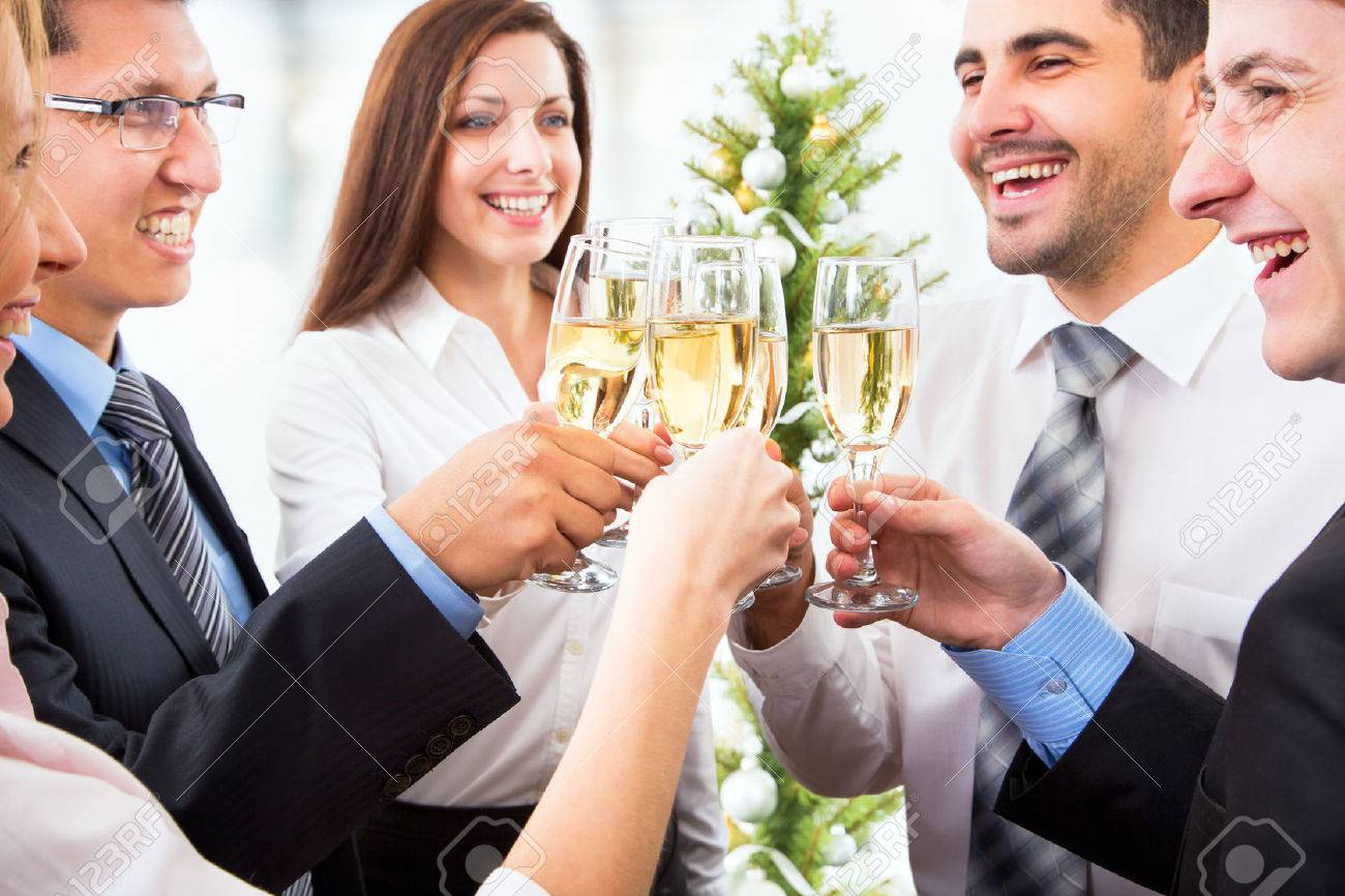 Happy people with of crystal glasses full of champagne Stock Photo - 23946949