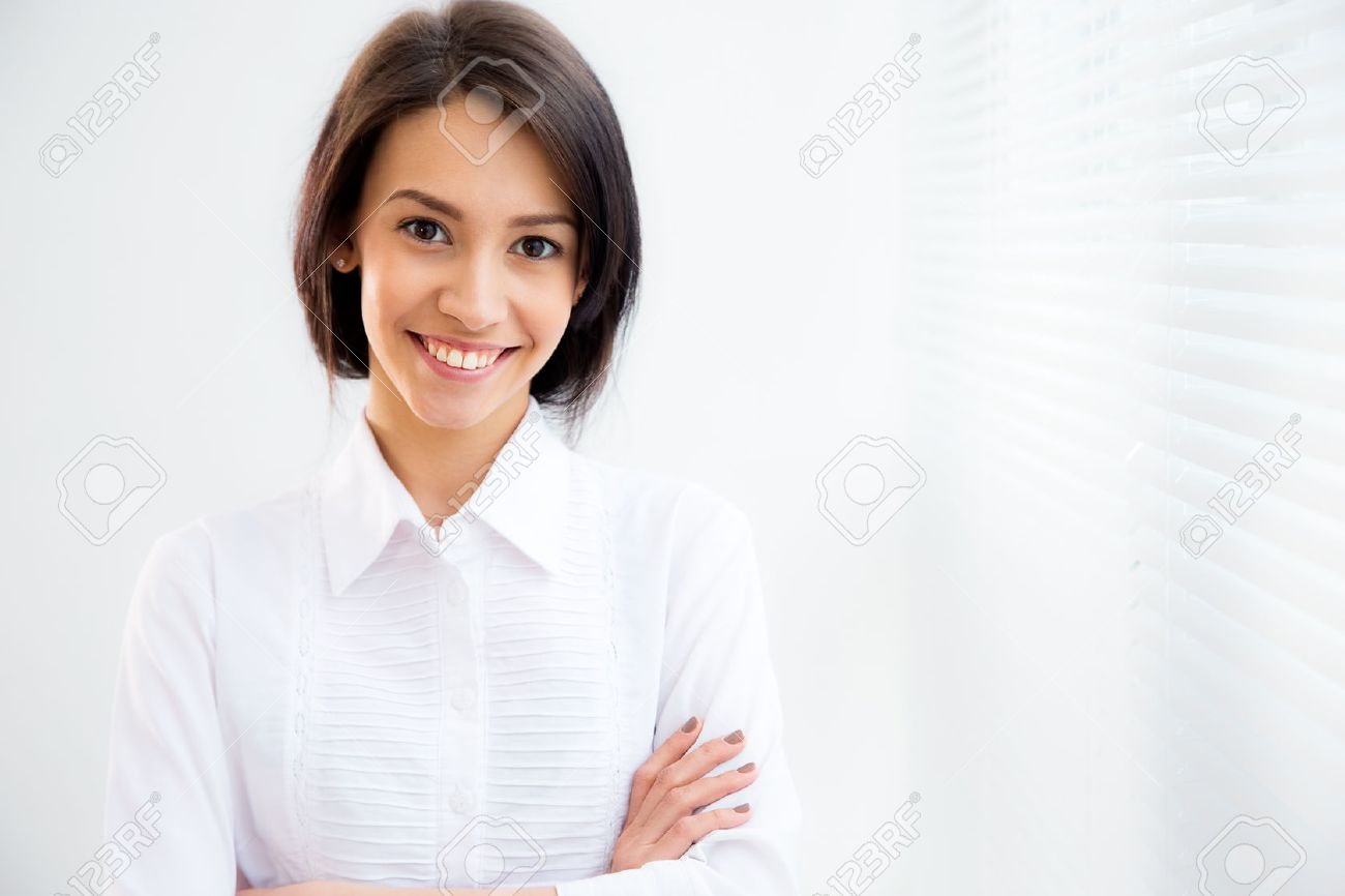 Portrait of asian business woman on the background of the blinds Stock Photo - 42768342