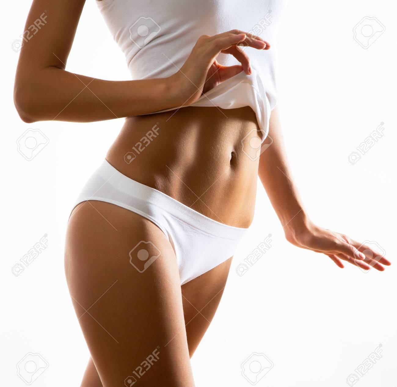 Schöne Frau Mit Perfekten Figur In Der Unterwäsche Lizenzfreie Fotos