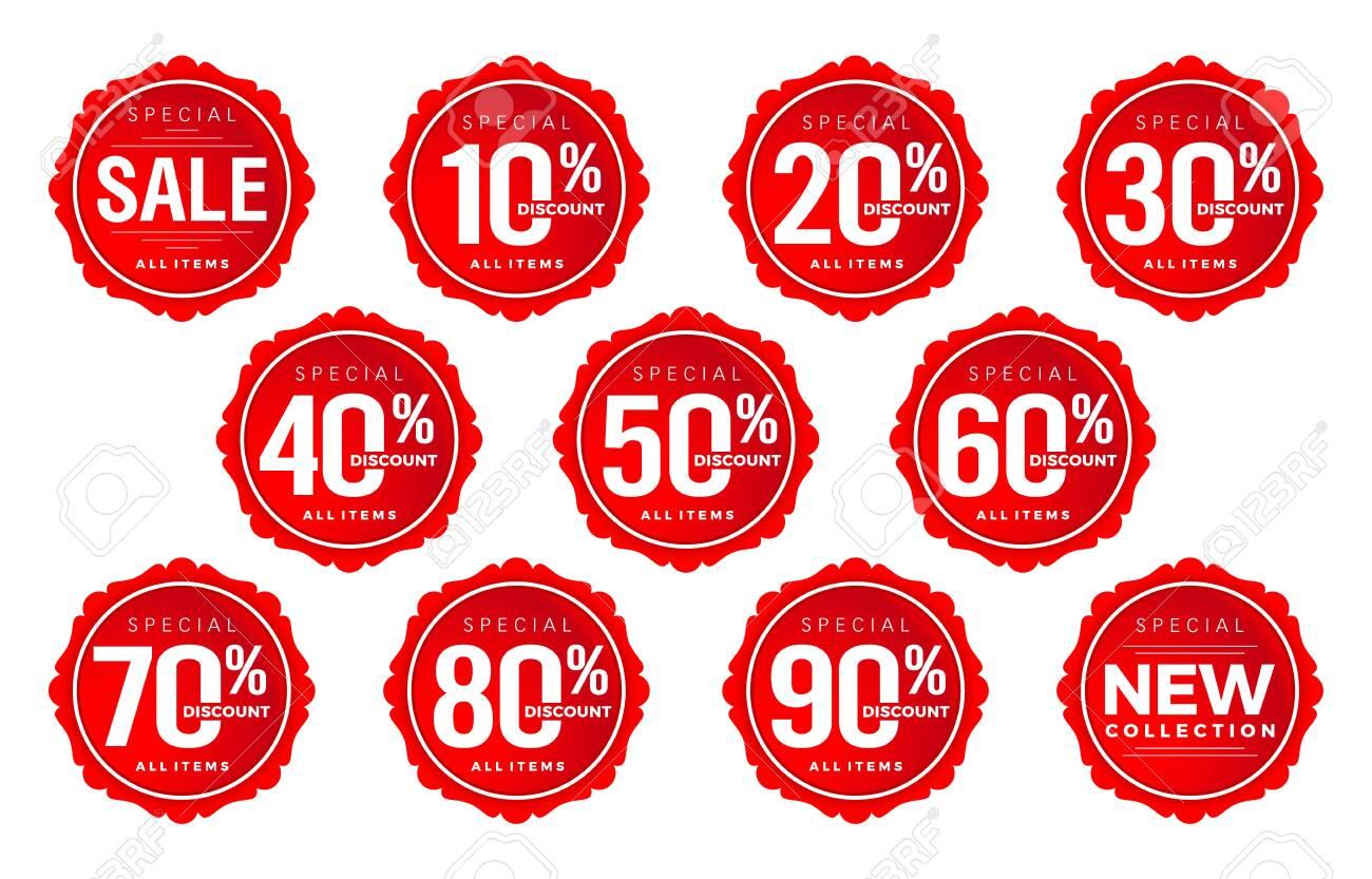 Discount sticker number, discount number set, tag number discount vector set, red label sale numbers collection . For Advertising, shopping festival, promotion in store, low price offer, & web banner - 157199682