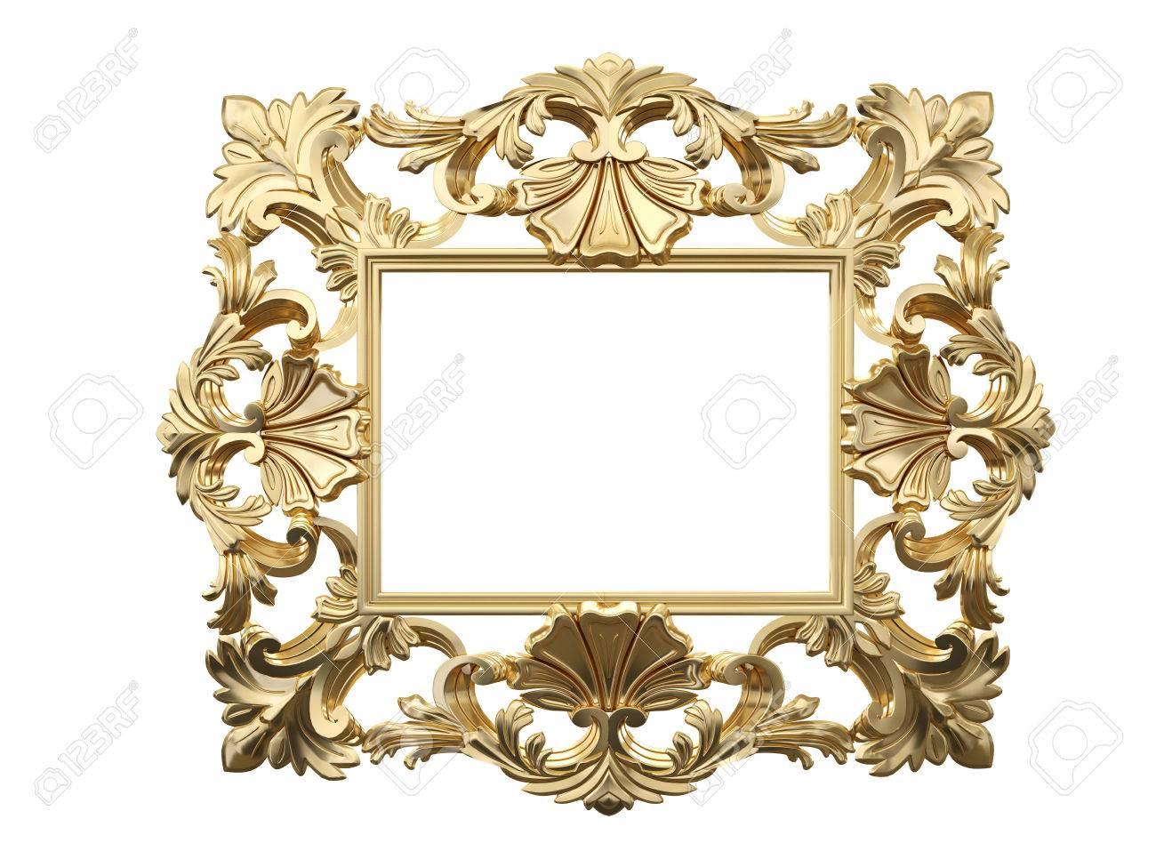 Goldenen Vintage-Rahmen, Spiegel. Design Retro-Element. Körperliche ...