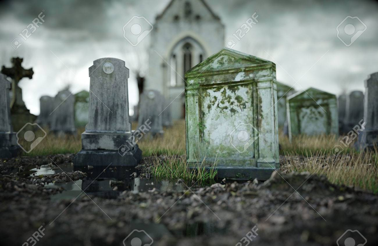 Scary Old Cemetery. Old Church On Grave. Halloween Concept. 3d ...