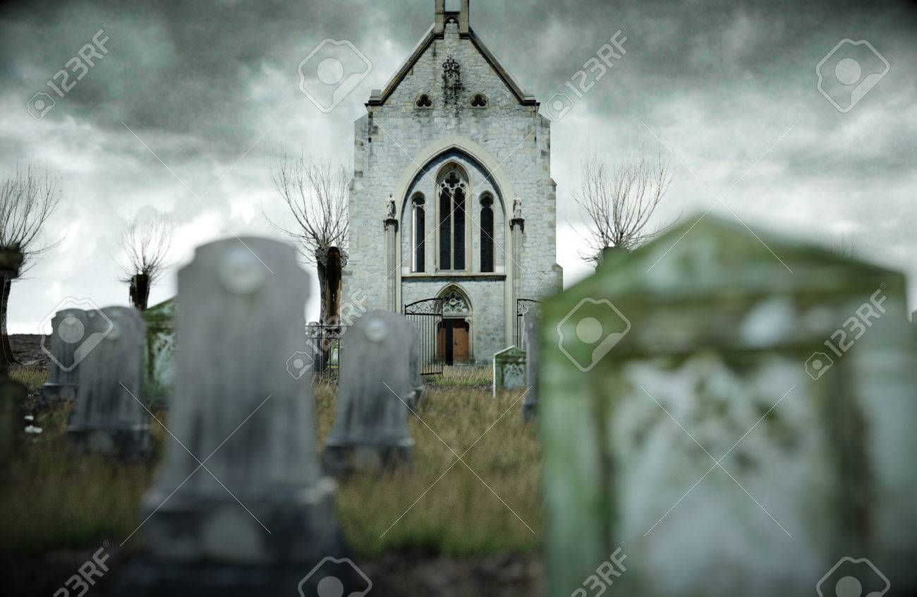 old church on grave halloween concept 3d rendering stock
