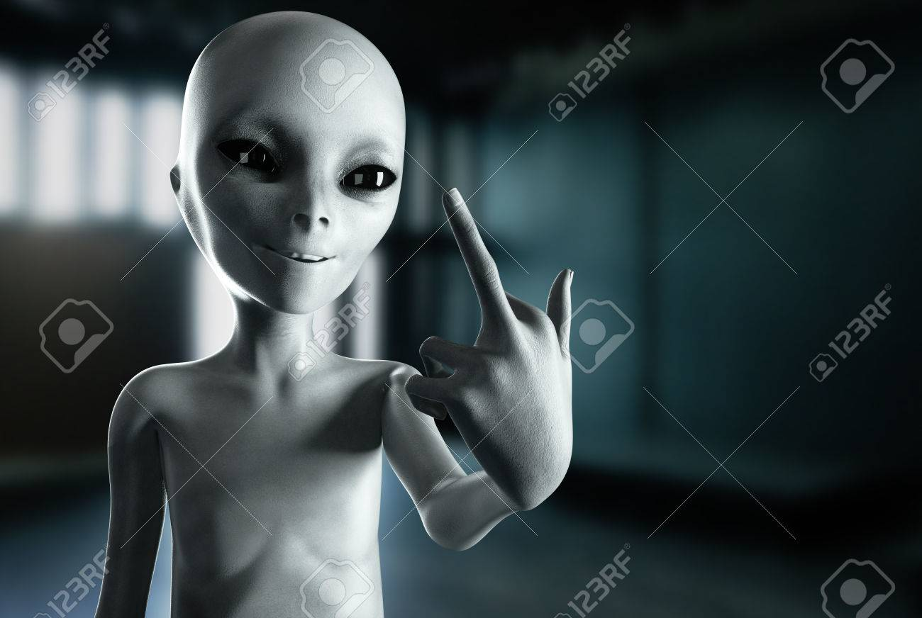 alien show middle finger, fuck you. smile. 3d rendering. stock photo