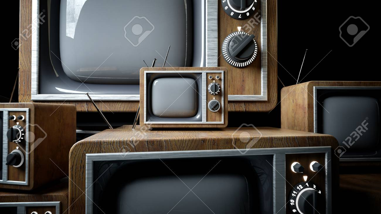 tas de rétro, télévision antique dans la chambre sombre. rendu 3d