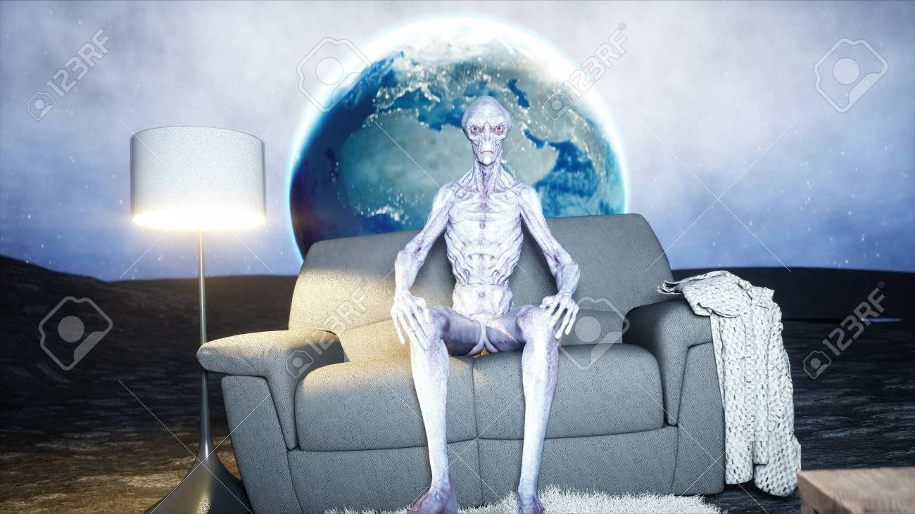 Tremendous Funny Alien Watching Tv On The Sofa On The Moon Living On The Andrewgaddart Wooden Chair Designs For Living Room Andrewgaddartcom