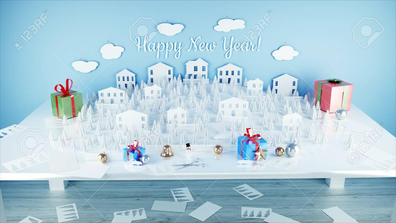 Fiocchi Di Neve Di Carta 3d : Città di carta sul tavolo. felice anno nuovo e il concetto di natale