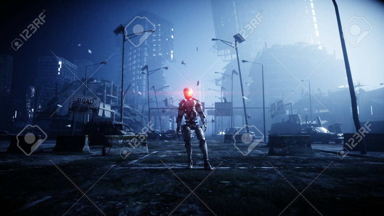 Military robot in destroyed city. Future apocalypse concept. 3d rendering. - 110280715
