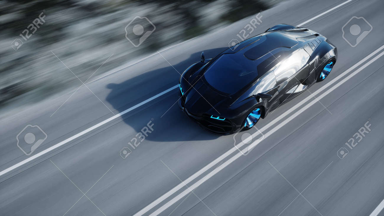 black futuristic electric car on highway in desert. Very fast driving. Concept of future. 3d rendering - 148615065