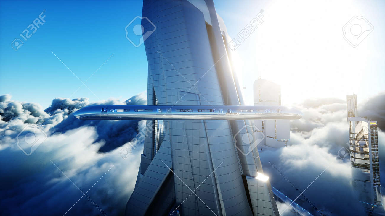 Flying passenger train. Futuristic sci fi city in clouds. Utopia. concept of the future. Aerial fantastic view. 3d rendering. - 162391655