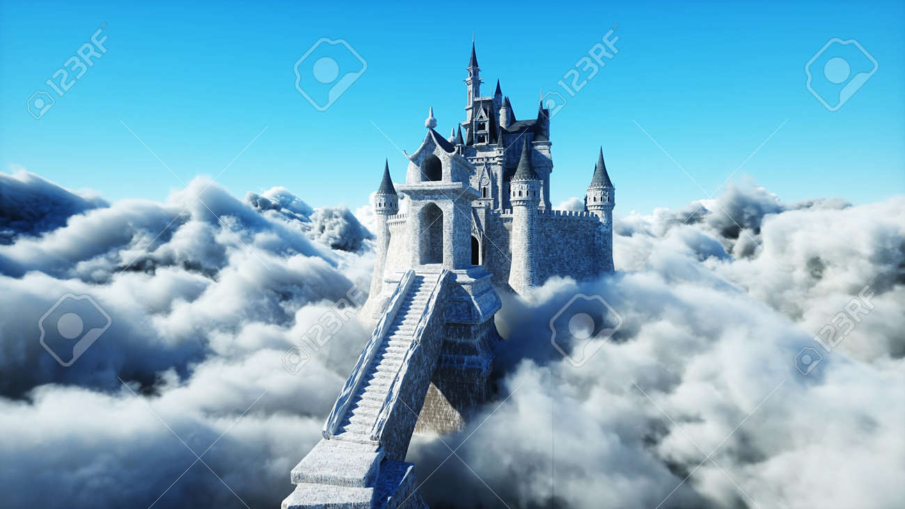 Fairytale palace in clouds. Aerial view. Overclouds. 3d rendering - 162391669