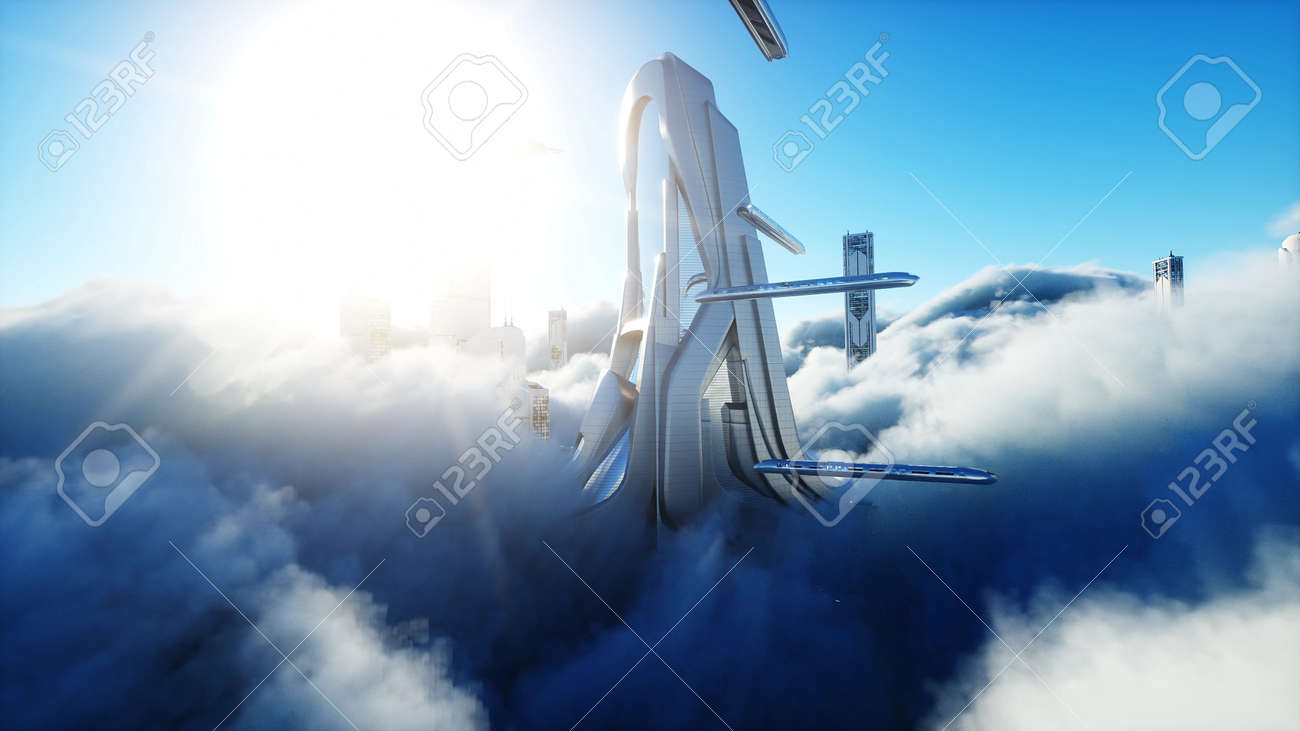 Futuristic sci fi city in clouds. Utopia. concept of the future. Flying passenger transport. Aerial fantastic view. 3d rendering. - 162391672