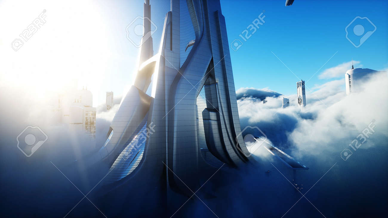 Futuristic sci fi city in clouds. Utopia. concept of the future. Flying passenger transport. Aerial fantastic view. 3d rendering. - 162391676