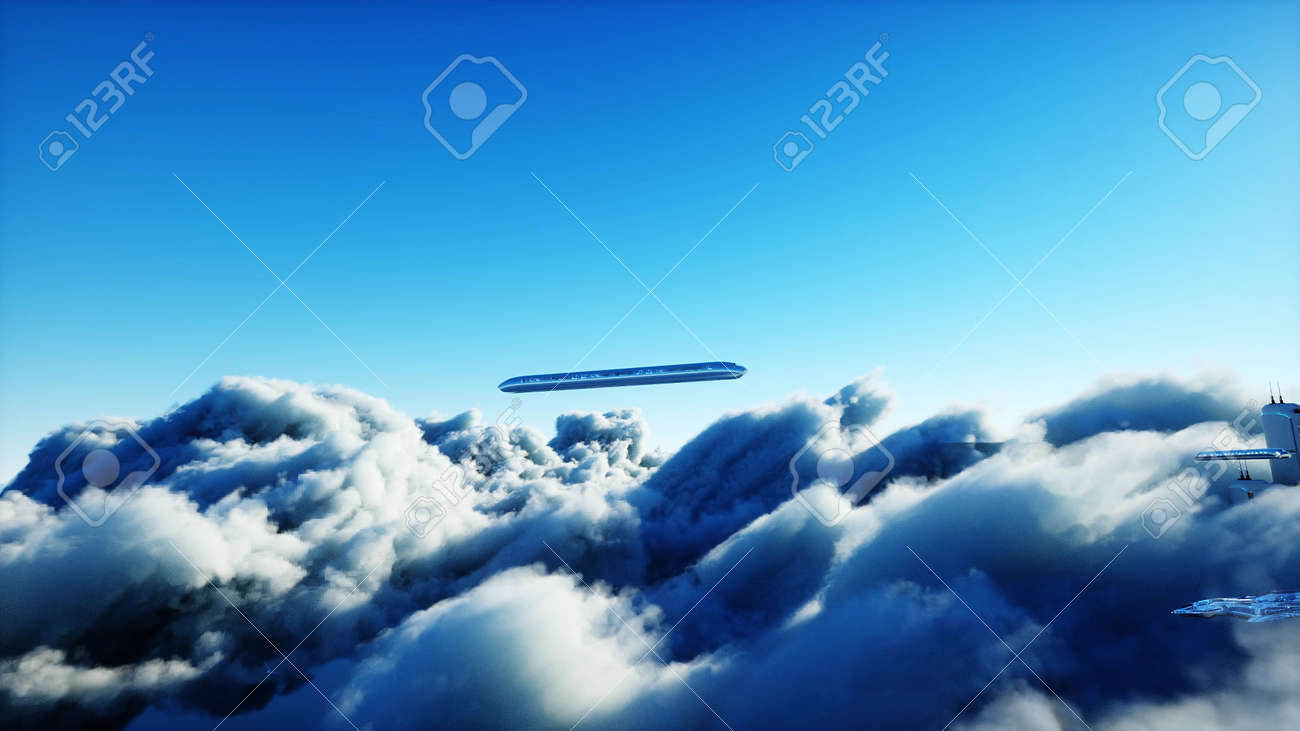 Flying passenger train. Futuristic sci fi city in clouds. Utopia. concept of the future. Aerial fantastic view. 3d rendering. - 162391677