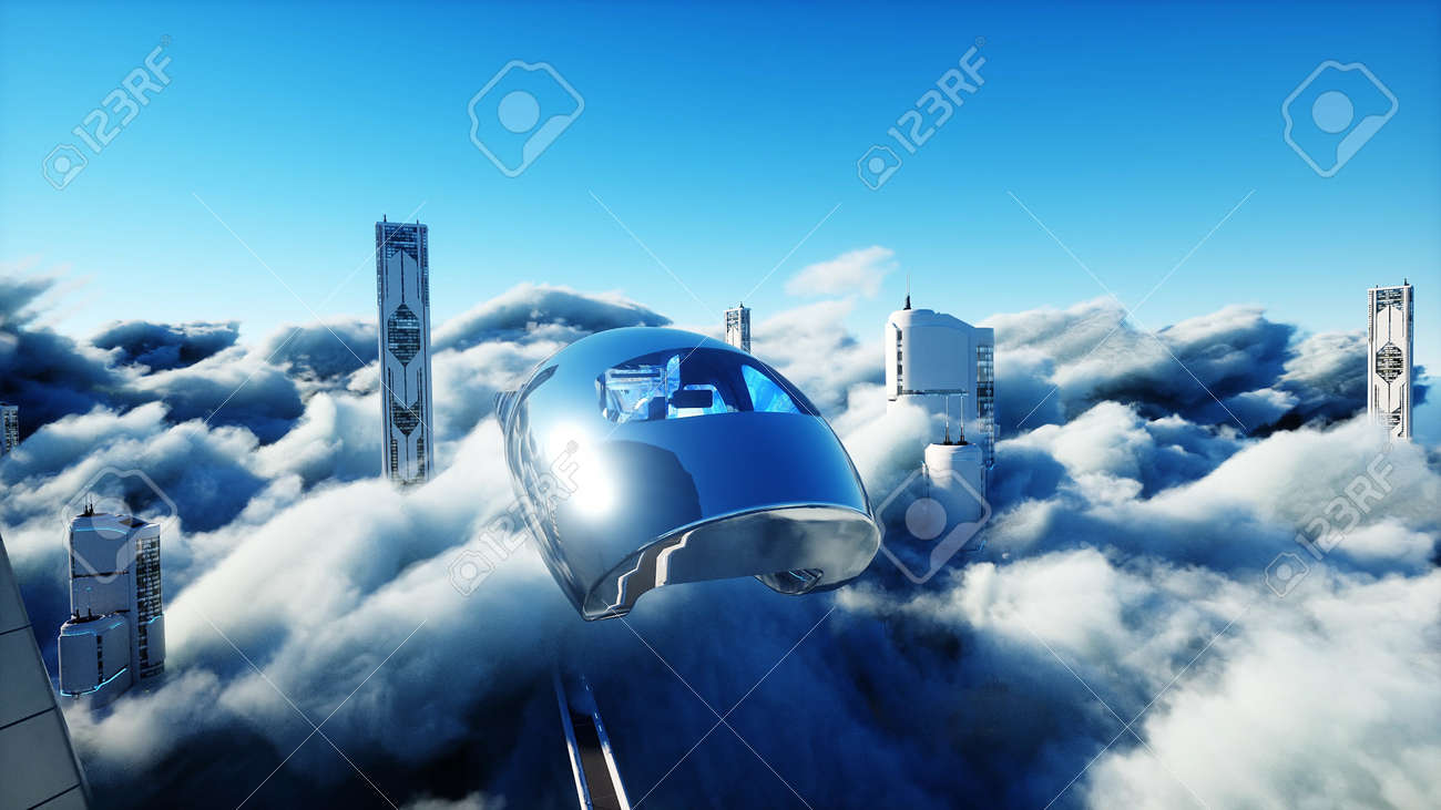 Flying passenger train. Futuristic sci fi city in clouds. Utopia. concept of the future. Aerial fantastic view. 3d rendering. - 162391678
