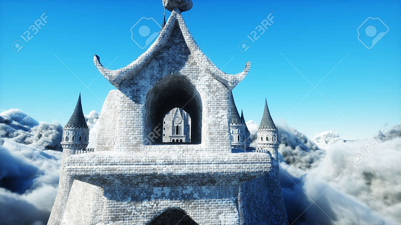 Fairytale palace in clouds. Aerial view. Overclouds. 3d rendering - 162391681