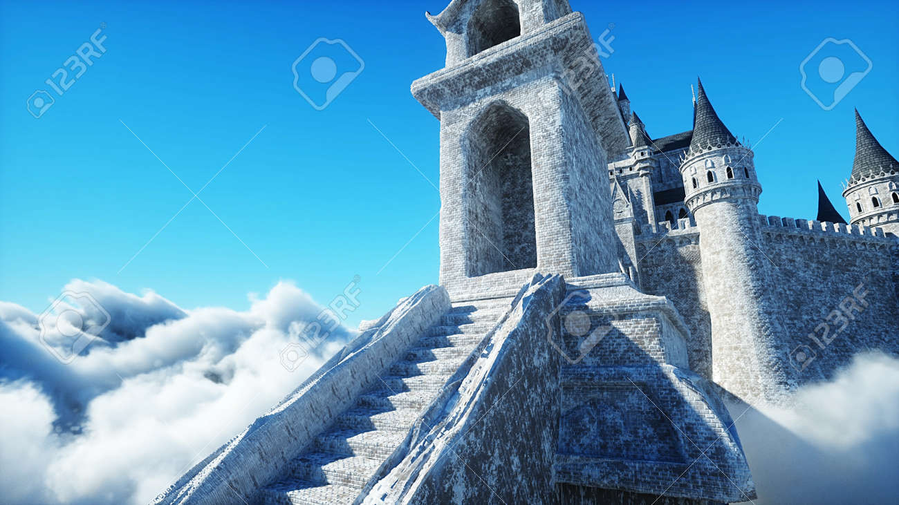 Fairytale palace in clouds. Aerial view. Overclouds. 3d rendering - 162391685